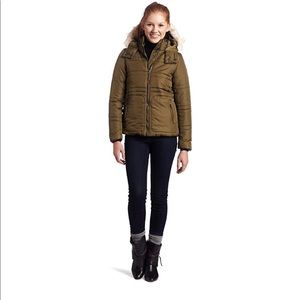 Olive Green Puffer Coat with Faux Fur Lined Hood